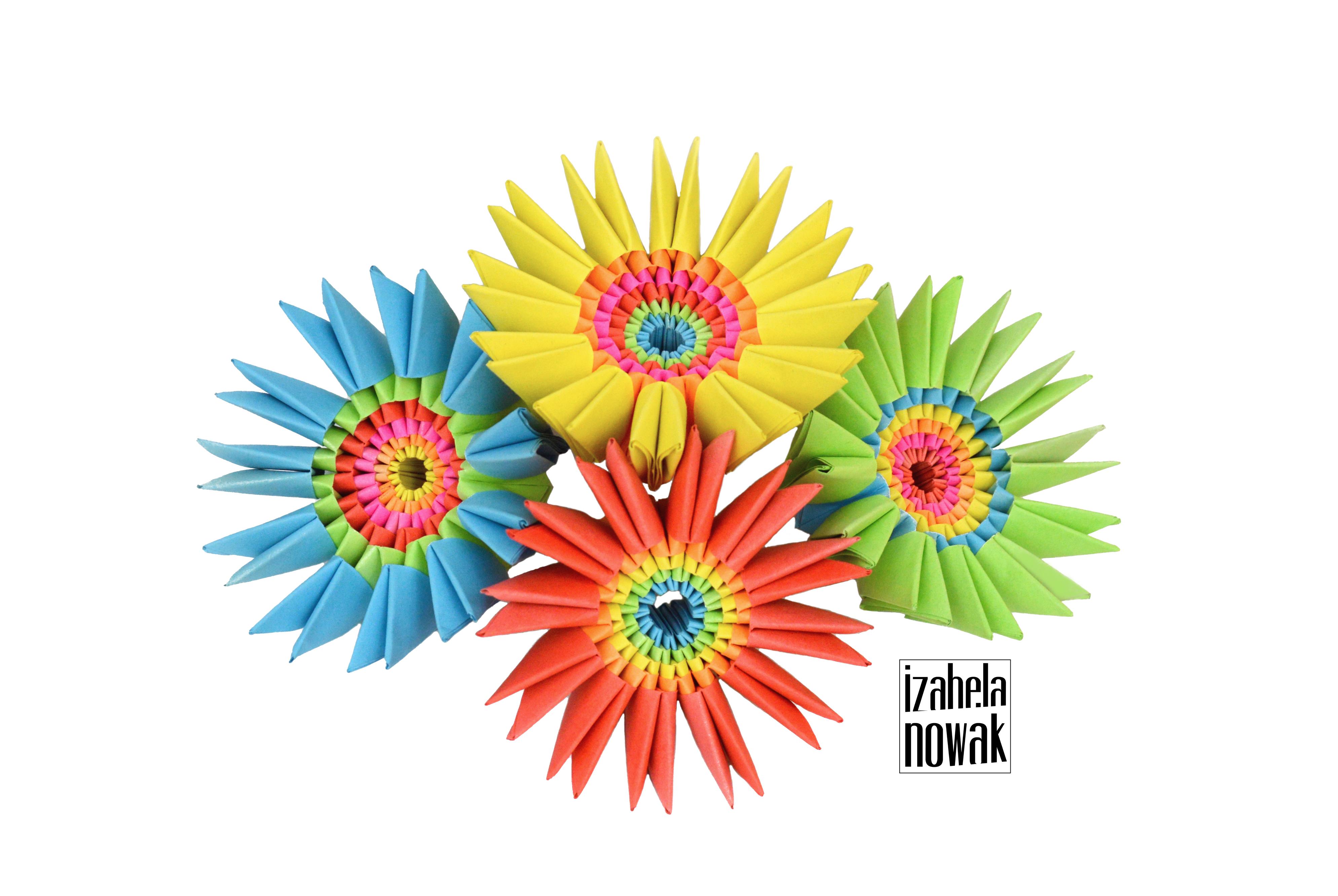Modular Origami Paper Flowers Kusudama Izabela Nowak Design